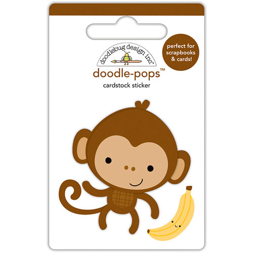 Doodlebug Design - At the Zoo Collection - Doodle-Pops - 3 Dimensional Cardstock Stickers - Monkey Mike
