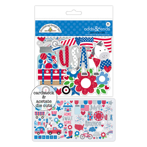 Doodlebug Design - Yankee Doodle Collection - Odds and Ends - Die Cut Cardstock Pieces