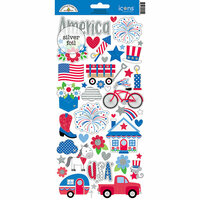 Doodlebug Design - Yankee Doodle Collection - Cardstock Stickers - Icons