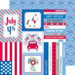 Doodlebug Design - Yankee Doodle Collection - 12 x 12 Double Sided Paper - Summer Celebration