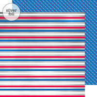Doodlebug Design - Yankee Doodle Collection - 12 x 12 Double Sided Paper with Foil Accents - Yankee Doodle Stripes
