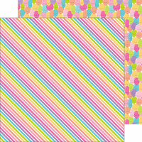Doodlebug Design - Fairy Tales Collection - 12 x 12 Double Sided Paper - Rainbow Ribbons