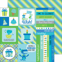 Doodlebug Design - Dragon Tails Collection - 12 x 12 Double Sided Paper - Sea Serpent Stripes