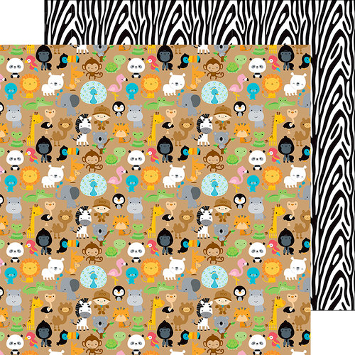 Doodlebug Design - At the Zoo Collection - 12 x 12 Double Sided Paper - Zoo Friends