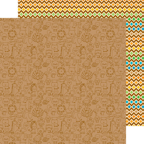 Doodlebug Design - At the Zoo Collection - 12 x 12 Double Sided Paper - Animal Crackers