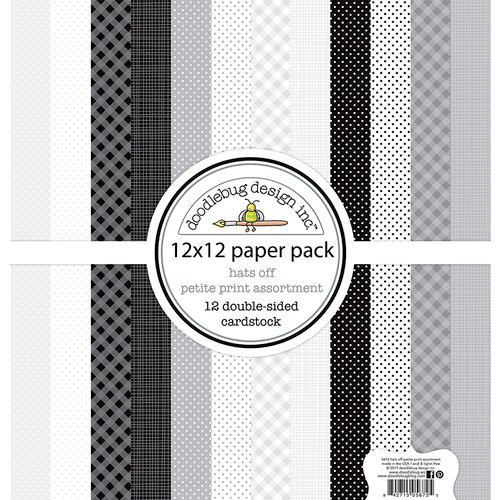 Doodlebug Design - Hats Off Collection - 12 x 12 Paper Pack - Petite Print Assortment