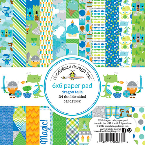 Doodlebug Design - Dragon Tails Collection - 6 x 6 Paper Pad