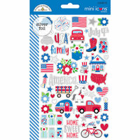 Doodlebug Design - Yankee Doodle Collection - Cardstock Stickers - Mini Icons
