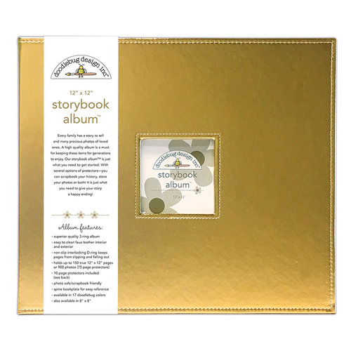 Doodlebug Design - 12 x 12 Storybook Album - Gold