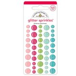 Doodlebug Design - Milk and Cookies Collection - Christmas - Glitter Sprinkles - Self Adhesive Enamel Dots - Christmas Assortment