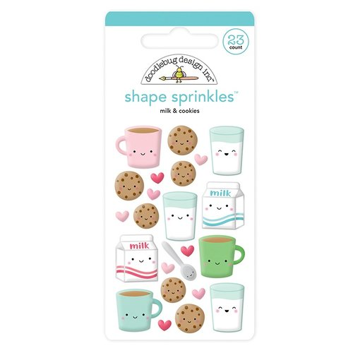 Doodlebug Design - Milk and Cookies Collection - Christmas - Sprinkles - Self Adhesive Enamel Shapes - Milk and Cookies