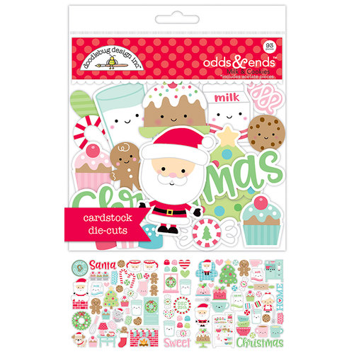 Doodlebug Design - Milk and Cookies Collection - Christmas - Odds and Ends - Die Cut Cardstock Pieces
