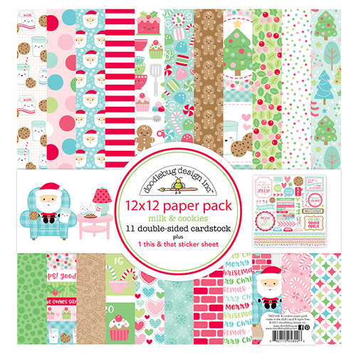Doodlebug Design - Milk and Cookies Collection - Christmas - 12 x 12 Paper Pack