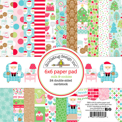 Doodlebug Design - Milk and Cookies Collection - Christmas - 6 x 6 Paper Pad