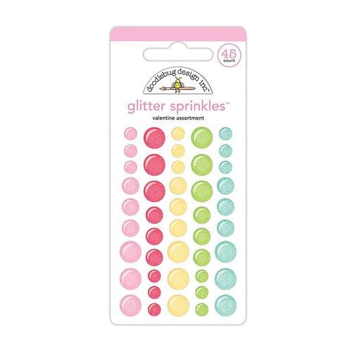 Doodlebug Design - So Punny Collection - Glitter Sprinkles - Self Adhesives Enamel Dots - Valentine Assortment