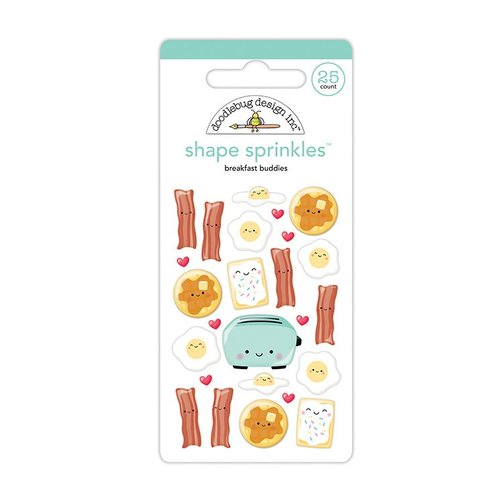 Doodlebug Design - So Punny Collection - Sprinkles - Self Adhesive Enamel Shapes - Breakfast Buddies