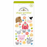 Doodlebug Design - Down on the Farm Collection - Sprinkles - Self Adhesive Enamel Shapes - Farm Friends