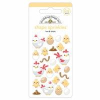 Doodlebug Design - Down on the Farm Collection - Sprinkles - Self Adhesive Enamel Shapes - Hen and Chicks