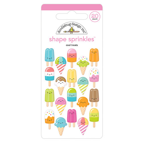 Doodlebug Design - Sweet Summer Collection - Sprinkles - Self Adhesive Enamel Shapes - Cool Treats