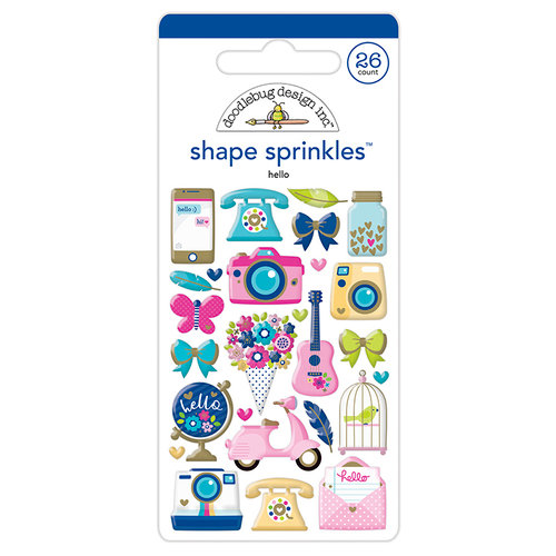 Doodlebug Design - Hello Collection - Sprinkles - Self Adhesive Enamel Shapes - Hello with Foil Accents