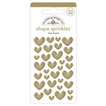 Doodlebug Design - Hello Collection - Sprinkles - Self Adhesive Enamel Shapes - Heart of Gold with Foil Accents