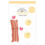 Doodlebug Design - So Punny Collection - Doodle-Pops - 3 Dimensional Cardstock Stickers - Bacon and Eggs