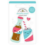 Doodlebug Design - So Punny Collection - Doodle-Pops - 3 Dimensional Cardstock Stickers - Soda Friends