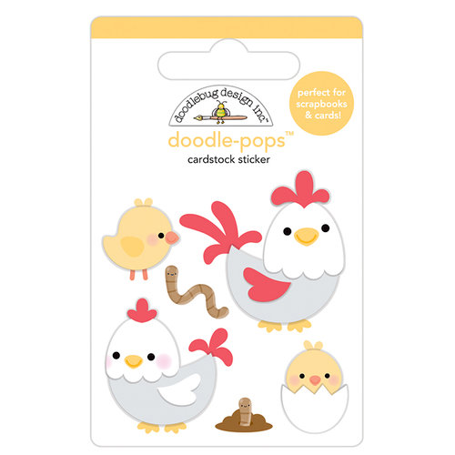 Doodlebug Design - Down on the Farm Collection - Doodle-Pops - 3 Dimensional Cardstock Stickers - Hen and Chicks