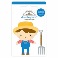 Doodlebug Design - Down on the Farm Collection - Doodle-Pops - 3 Dimensional Cardstock Stickers - Farmer Joe