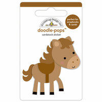 Doodlebug Design - Down on the Farm Collection - Doodle-Pops - 3 Dimensional Cardstock Stickers - Giddy Up