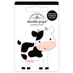Doodlebug Design - Down on the Farm Collection - Doodle-Pops - 3 Dimensional Cardstock Stickers - What's Moo