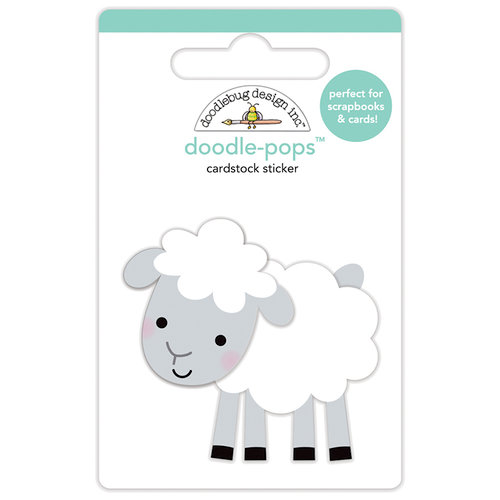 Doodlebug Design - Down on the Farm Collection - Doodle-Pops - 3 Dimensional Cardstock Stickers - Little Lamb