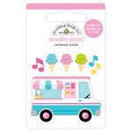 Doodlebug Design - Sweet Summer Collection - Doodle-Pops - 3 Dimensional Cardstock Stickers - Ice Cream Truck