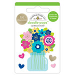 Doodlebug Design - Hello Collection - Doodle-Pops - 3 Dimensional Cardstock Stickers with Foil Accents - Just Because