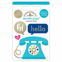 Doodlebug Design - Hello Collection - Doodle-Pops - 3 Dimensional Cardstock Stickers with Foil Accents - Hello There