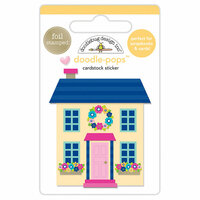 Doodlebug Design - Hello Collection - Doodle-Pops - 3 Dimensional Cardstock Stickers with Foil Accents - Cute Cottage