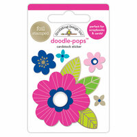 Doodlebug Design - Hello Collection - Doodle-Pops - 3 Dimensional Cardstock Stickers with Foil Accents - Pink Poppy
