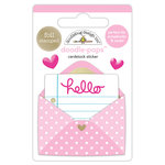 Doodlebug Design - Hello Collection - Doodle-Pops - 3 Dimensional Cardstock Stickers with Foil Accents - Love Letter