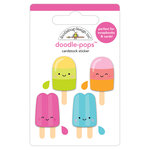 Doodlebug Design - Sweet Summer Collection - Doodle-Pops - 3 Dimensional Cardstock Stickers - Ice Pops