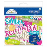Doodlebug Design - Hello Collection - Chit Chat - Die Cut Cardstock Pieces with Foil Accents