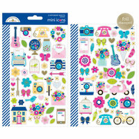 Doodlebug Design - Hello Collection - Cardstock Stickers - Mini Icons with Foil Accents