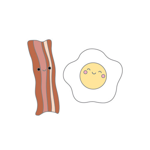 Doodlebug Design - So Punny Collection - Collectible Pins - Bacon and Eggs