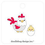 Doodlebug Design - Down on the Farm Collection - Collectible Pins - Hen and Chick