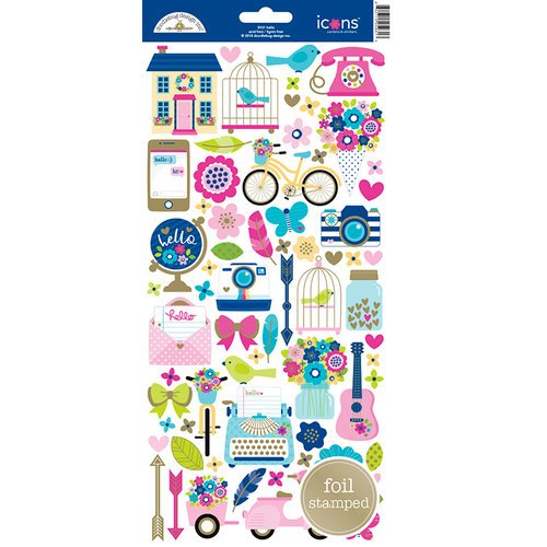 Doodlebug Design - Hello Collection - Cardstock Stickers - Icons with Foil Accents