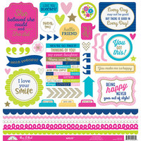 Doodlebug Design - Hello Collection - 12 x 12 Cardstock Stickers - This and That with Foil Accents