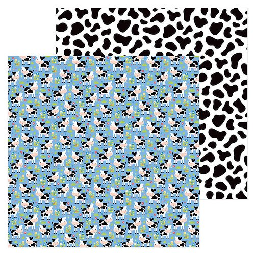 Doodlebug Design - Down on the Farm Collection - 12 x 12 Double Sided Paper - Udderly Cute