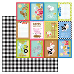 Doodlebug Design - Down on the Farm Collection - 12 x 12 Double Sided Paper - Buffalo Check