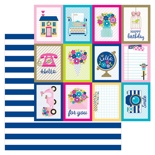 Doodlebug Design - Hello Collection - 12 x 12 Double Sided Paper - Navy Stripe