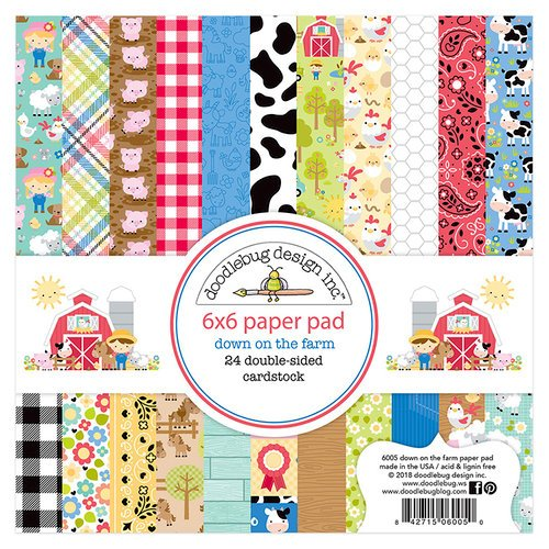 Doodlebug Design - Down on the Farm Collection - 6 x 6 Paper Pad