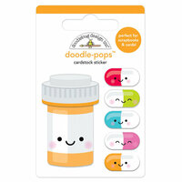 Doodlebug Design - So Much Pun Collection - Doodle-Pops - 3 Dimensional Cardstock Stickers - Pill Better